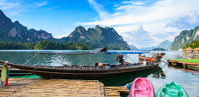Longtail boat in Chiew Laan Lake, Khao Sok National Park