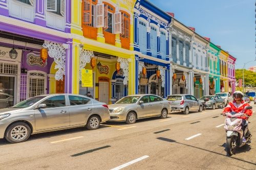 Colourful shophouses in George Town, Malaysia