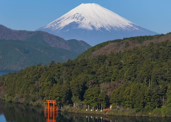Mountain Fuji and Lake Ashi with Hakone Temple