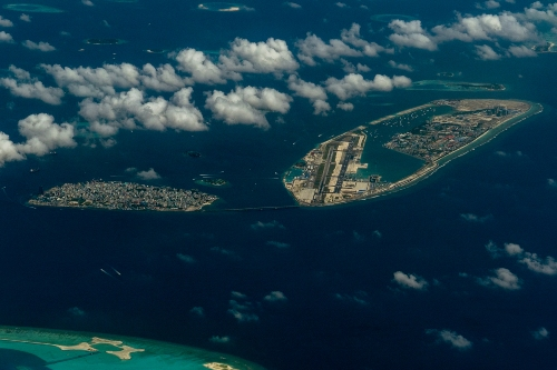 Male Airport from above, the Maldives
