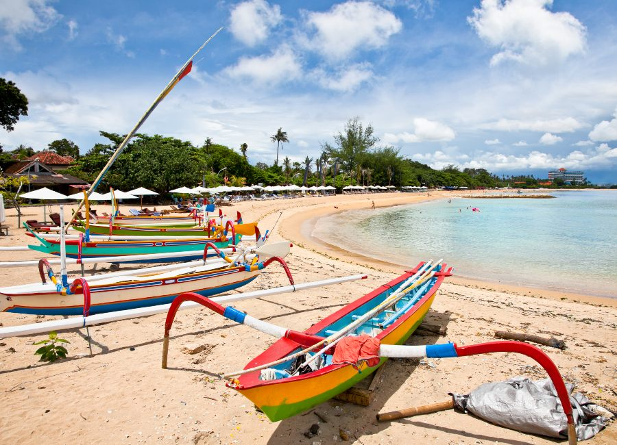 Traditional fishing boats on a beach in Sanur on Bali, Indonesia