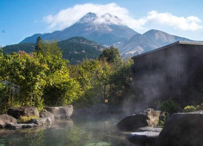 Natural hot spring (onsen) in the Japanese Alps