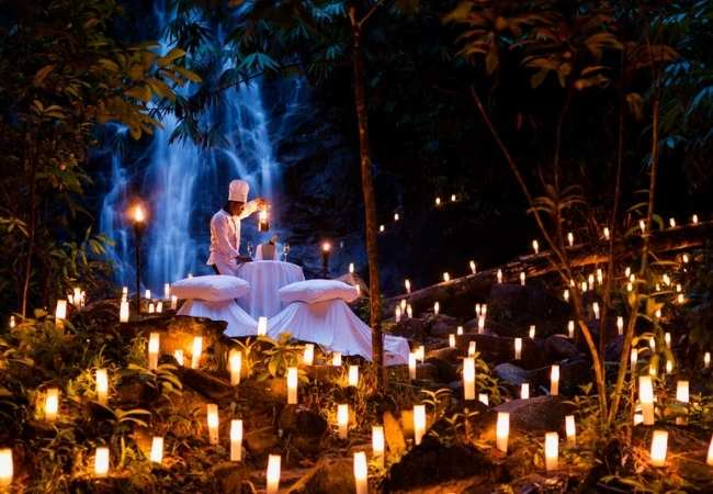 Waterfall candlelit dinner, Thailand