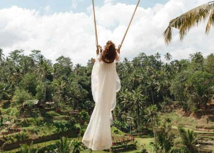 Swing over Tegalalang rice fields, Ubud