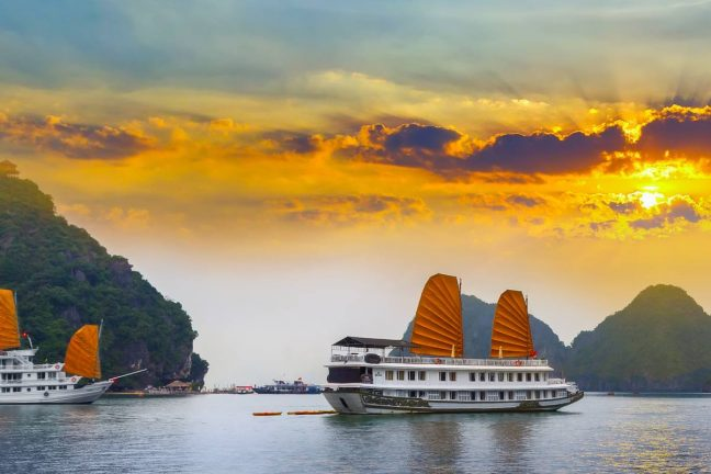 Wide view of Halong Bay at sunset