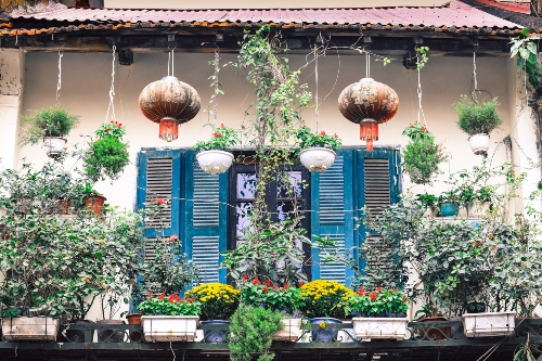 Colourful houses in the Old Quarter, Hanoi